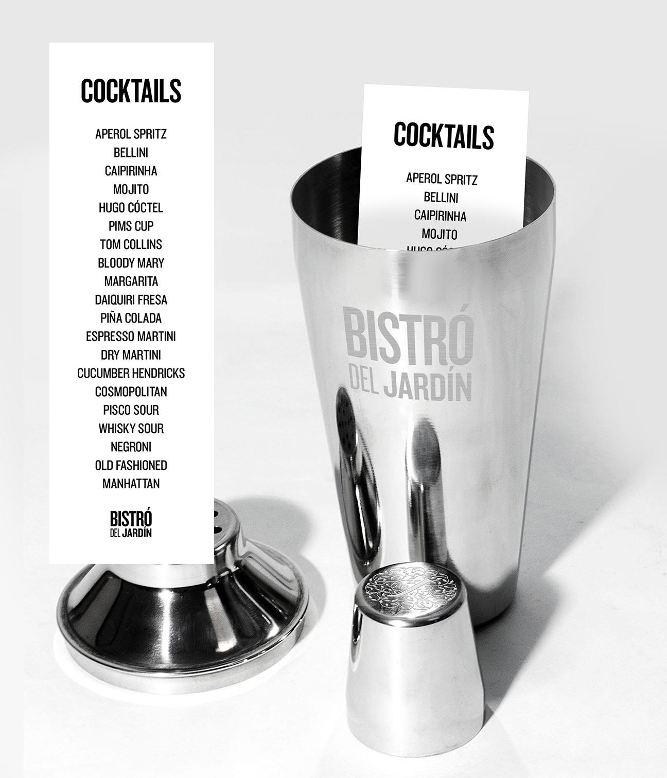 Bistró del Jardín - Carta de cocktails